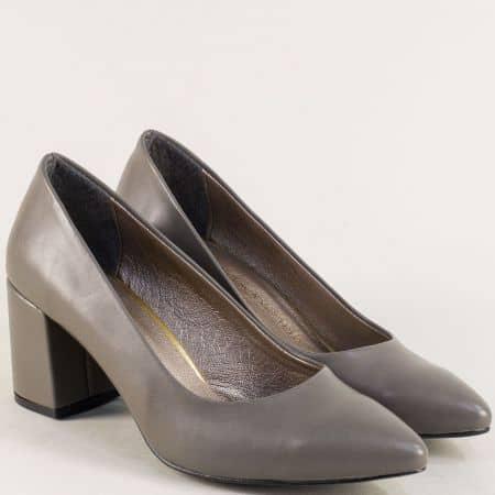 Сиви дамски обувки със заострен връх и висок ток 873sv
