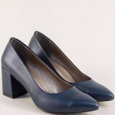 Дамски обувки в тъмно син цвят на висок ток 873ts