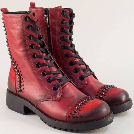 Червени дамски боти на нисък ток от естествена кожа 8752chv