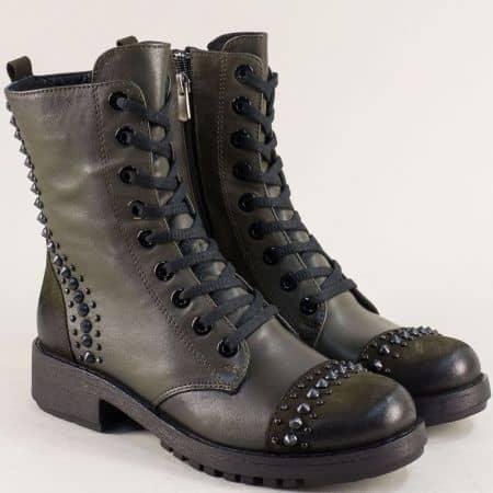 Зимни дамски обувки тип кубинка в зелен цвят от естествена кожа 8752z1