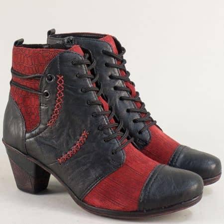 Дамски боти в червено и черно на среден ток- REMONTE 8786chchv