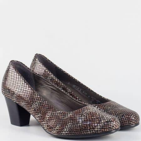 Дамски кожени обувки на среден ток- ALPINA в сиво и кафяво 879kps