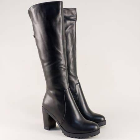 Черни дамски ботуши на висок ток и платформа- ELIZA 880770ch