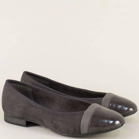 Немски дамски обувки в сив цвят на равно ходило 8822165vsv