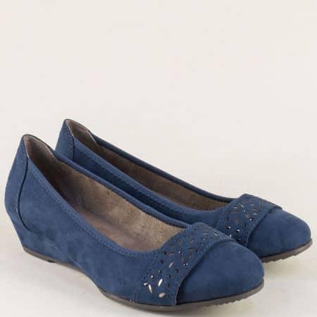 Сини дамски обувки с декорация на клин ходило- Jana 8822260vs