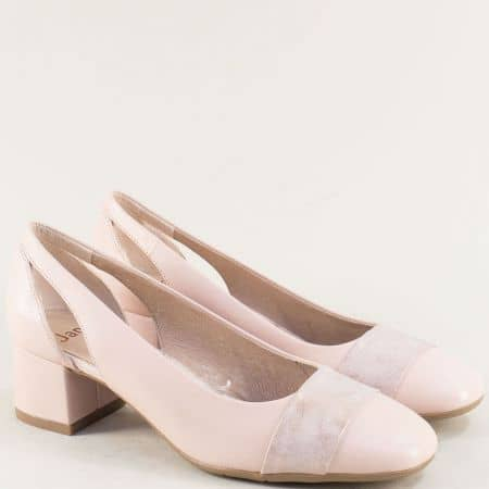 Розови дамски обувки с кожена стелка и среден ток- JANA 8822304rz