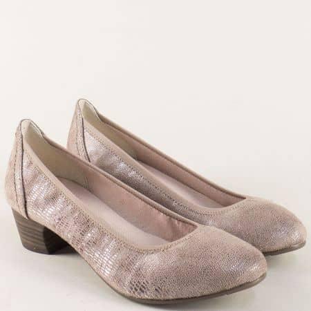 Бежови дамски обувки с блясък на нисък ток- Jana  8822361bj