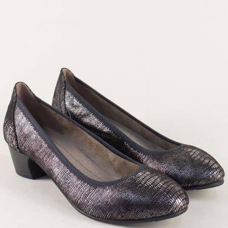 Черни дамски обувки със сребрист принт на нисък ток  8822361ch