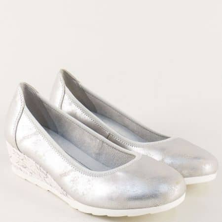 Сребристи дамски обувки на клин ходило- Jana 8822363sr