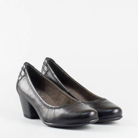 Дамски обувки Jana на нисък ток, с вградена Antishokk система за комфорт, изработени от черна естествена кожа 8822404ch