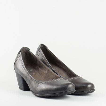 Дамски обувки Jana на нисък ток, с вградена Antishokk система за комфорт, изработени от сива естествена кожа 8822404sv