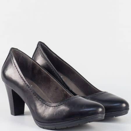 Дамски обувки на висок ток от естествена кожа- Jana в черен цвят 8822405ch