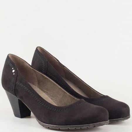 Практични и комфортни дамски обувки в черен цвят на среден ток- Jana 8822461vch