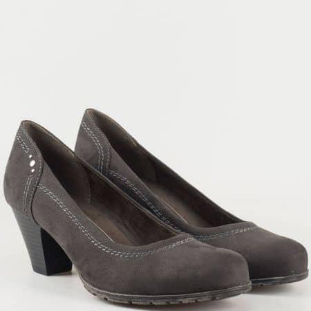 Сиви дамски обувки с мека стелка Jana от еко велур 8822461vsv
