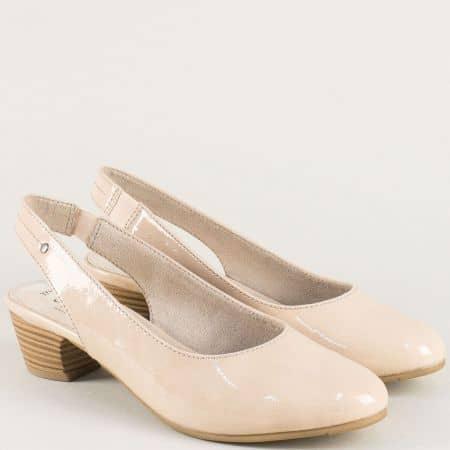Бежови дамски обувки с отворена пета и нисък ток- Jana  8829561lbj