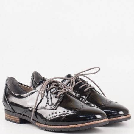 Дамски стилни обувки на удобно меко ходило на немската марка Jana в черен цвят 8823260lch