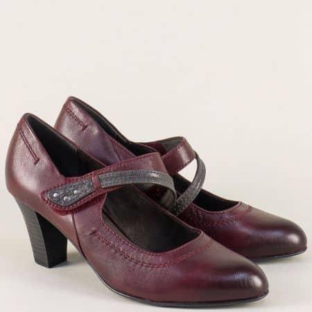 Дамски обувки с лепка в цвят бордо на висок ток- Jana 8824302bd