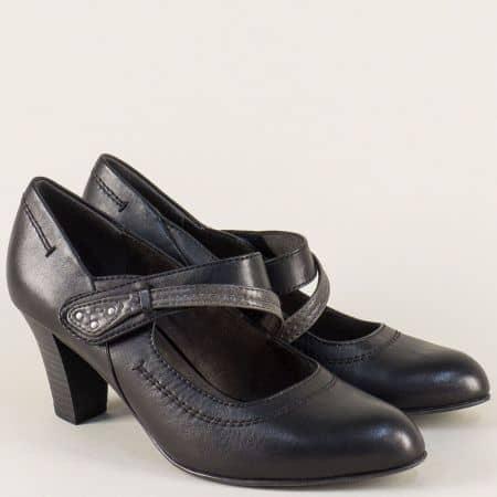 Черни дамски обувки с лепка на висок стабилен ток 8824302ch
