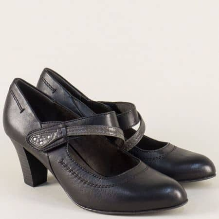 Черни дамски обувки на висок ток с лепка- Jana 8824302ch