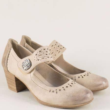 Немски дамски обувки на среден ток в бежов цвят 8824366bj