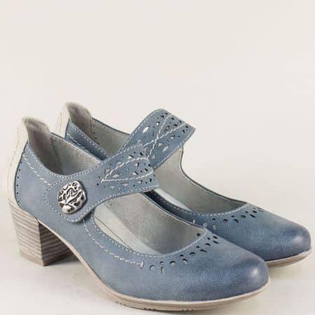 Сини дамски обувки на среден ток с лепка и ластик 8824366s