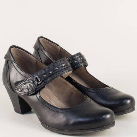 Дамски обувки на среден ток в черен цвят с лепка- Jana 8824463ch