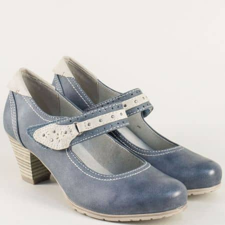 Дамска обувка на среден ток в син цвят на немската марка Jana 8824463s