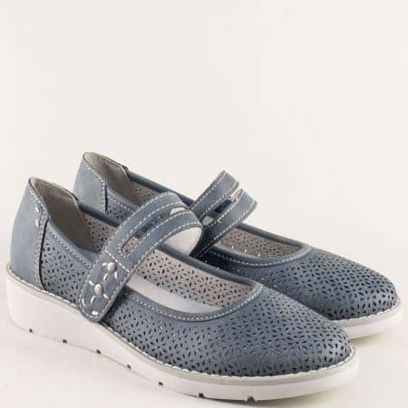 Дамски обувки с лепка и лазерна перфорация в син цвят 8824662s