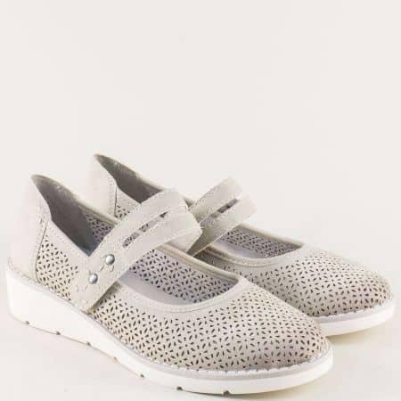 Перфорирани дамски обувки с лепка в сив цвят- Jana  8824662sv