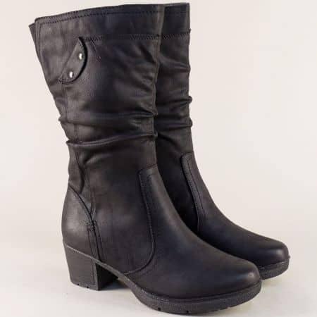Дамски ботуши на среден ток в черен цвят- Jana 8825661ch