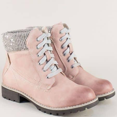 Розови дамски боти Jana на нисък ток и практични връзки 8826214rz