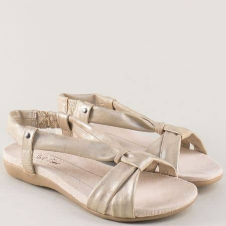 Златисти дамски сандали Jana на равно ходило 8828160zl
