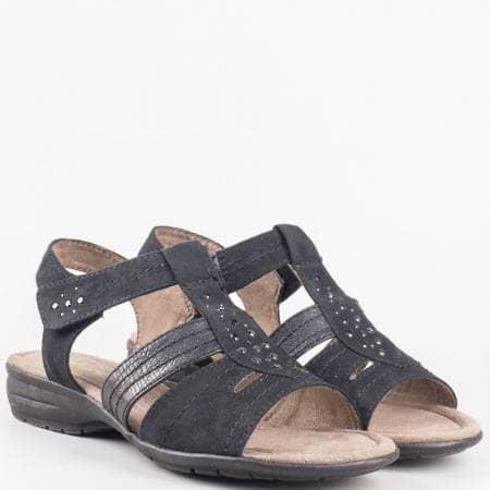 Немски дамски сандали с капси на нисък ток с лепка в черен цвят 8828163vch