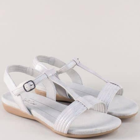 Бели дамски сандали с лепка на равно ходило-  Jana 8828165b