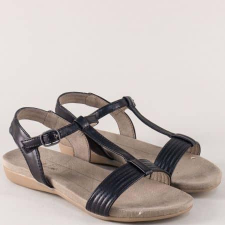 Дамски сандали Jana в черен цвят на равно ходило 8828165ch