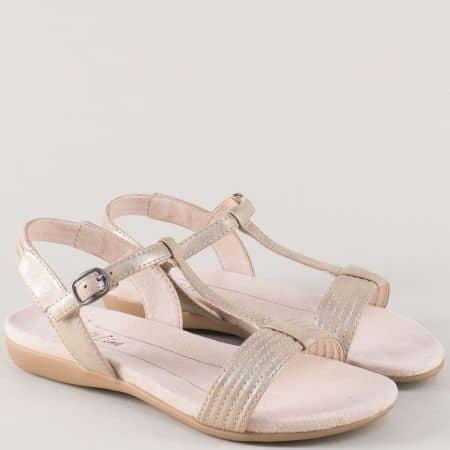 Немски дамски сандали в златисто на равно ходило 8828165zl