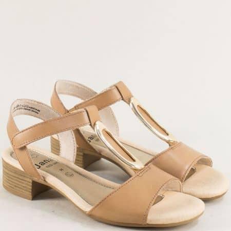 Кафяви дамски сандали от естествена кожа на нисък ток- Jana 8828322k