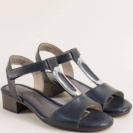 Дамски сандали на нисък ток от естествена кожа в син цвят от Германия 8828322s