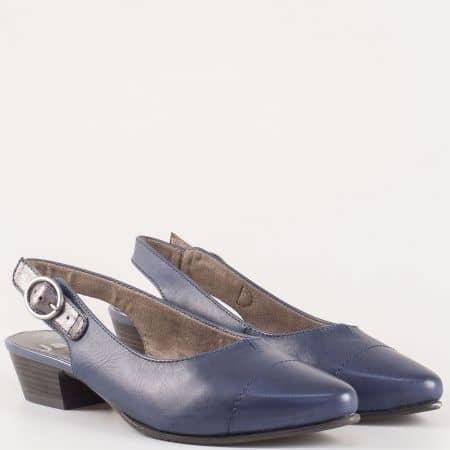 Дамски ежедневни обувки с отворена пета изработени от висококачествена естествена кожа на немския производител Jana в син цвят 8829400s