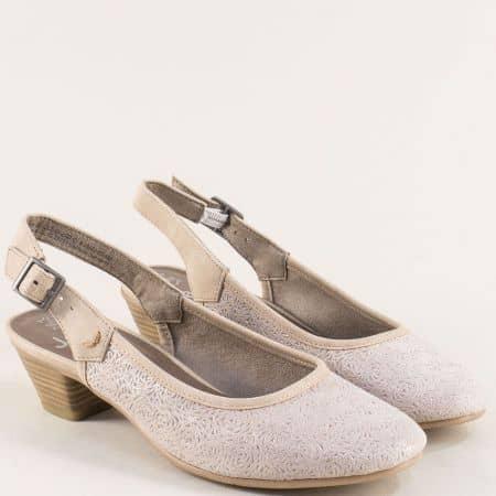 Бежови дамски обувки с Flex- Comfort система и нисък ток 8829502bj