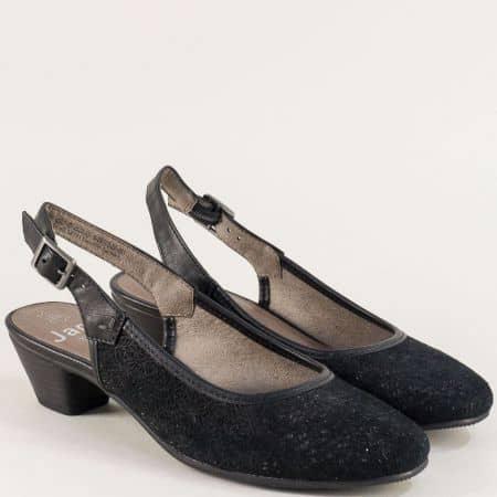 Черни дамски обувки Jana на нисък ток с отворена пета от естествен велур 8829502ch