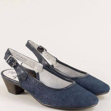 Сини дамски обувки с отворена пета от естествен велур 8829502s
