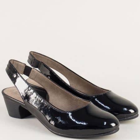 Дамски обувки с отворена пета на среден ток в черен цвят 8829561lch