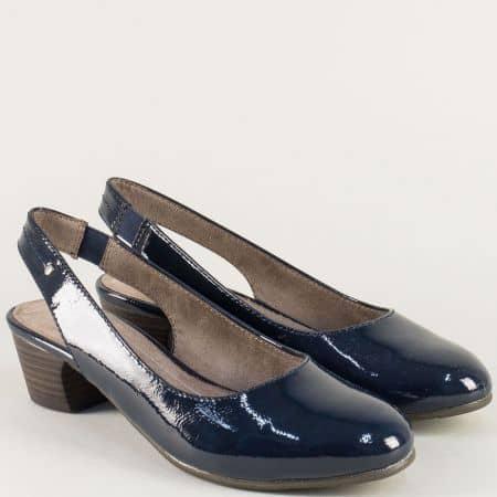 Тъмно сини дамски обувки с отворена пета на среден ток 8829561ls