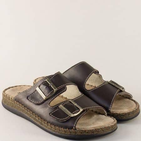 Тъмно кафяви мъжки чехли от естествена кожа 88412kk