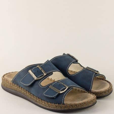 Шити мъжки чехли от естествен набук в син цвят 88412ns