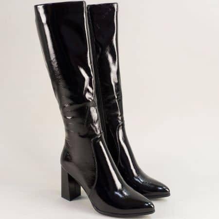 Черни дамски ботуши на висок ток със заострен връх 88557lch