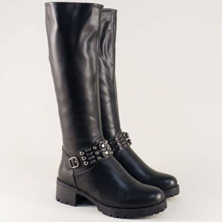 Черни дамски ботуши на среден ток с грайфер- ELIZA 885988ch