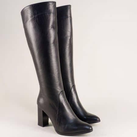 Стилни дамски ботуши на висок ток от естествена кожа в черен цвят 885ch