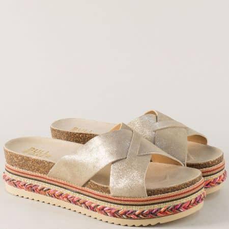 Златисти дамски чехли на платформа от естествена кожа 886000zl